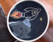 Handmade Pottery Rocket Ship Bowl