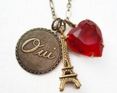 Paris Necklace - Eiffel Tower - French Parisian Jewelry - Oui - YES to Paris