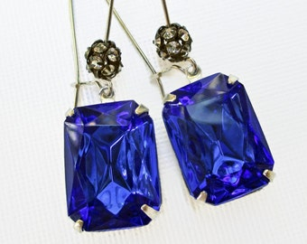 Blue Crystal Earrings Art Deco Jewelry Sapphire Blue September Birthstone Jewelry SIlver MADELINE Sapphire
