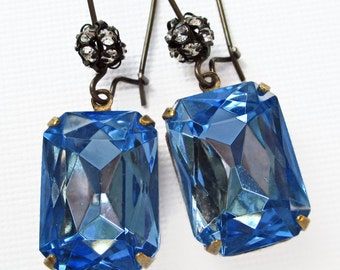 Soft Blue Crystal Earrings Art Deco Jewelry Sapphire Blue September Birthstone MADELINE Soft Blue