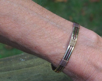 Copper and Brass Wire Wrapped Ladies Cuff Bracelet