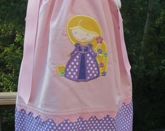 rapunzel applique pillowcase dress, princess birthday dress, 1st birthday, 2nd birthday, Princess party dress,