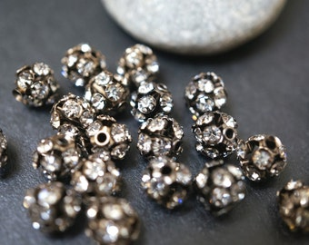 Gun Metal Jet Black Pave Crystal Ball Beads - 6mm - 10 pcs