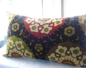 Both Sides -Decorative Pillow Cover - Designer Fabric --Suzani Throw Pillow-   Orange red  -Black-Cream-Charteuse,