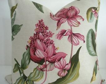 MANUEL CANOVAS 14X20 Last  One--Linen-Floral -Decorative Designer Pillow Cover -European  Fabric -Paris - Pinks-Fuchsia-Greens-Yellow