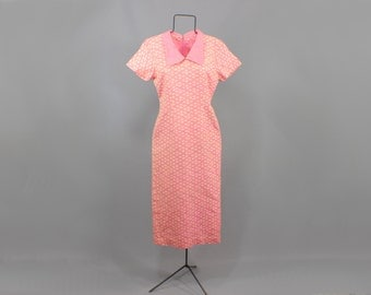 Vintage Wiggle Dress Ikat Print Pink Collared Midi Dress