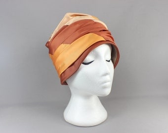 Vintage Hat / Ruched Pillbox Hat / 50's Rust Colored Turban