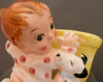 vintage 1950's 60's baby praying with puppy planter