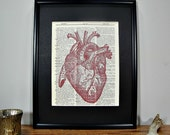 FRAMED 11x14 - Vintage Book Page Dictionary Print - Heart