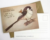 Long-tailed Tit postcard - Clockwork Bird steampunk illustration print