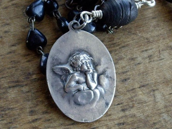 Antique Cherub Medal  Black  Rosary Sterling Silver Necklace  Assemblage