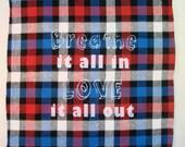Inspirational Quote Flannel Plaid Pocket Square Handkerchief