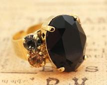 Black Ring Black Cocktail Ring Black Adjustable Ring Black Statement Ring Black Brown Grey Ring Swarovski Crystal,Gold,MIDNIGHT SHADES GR16