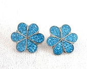 Turquoise Inlay Flower Earrings Pierced Posts Vintage