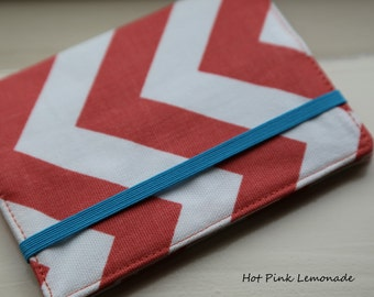 Passport Cover -  Coral Chevron with or without Aqua Elastic