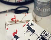 2 sheets Christmas Wrapping Paper heart and reindeer