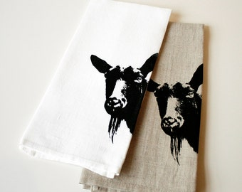 Goat towel screen printed by hand
