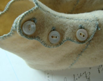 Antique Rare Felted Hand Made Sweet and Soft  High Button Boots for Small Child
