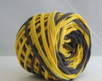 T Shirt Yarn Hand Dyed- Black/Yellow 60 Yards