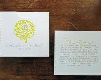 Elegant personalized cd sleeve wedding favor ANY COLOR {pack of 50}