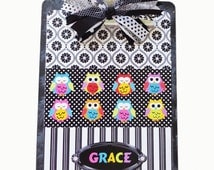 Personalized Clipboard Owls All in A Row 2 sided