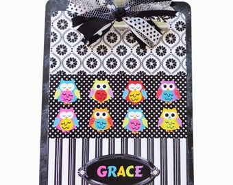 Teacher Personalized Clipboard Owls All in A Row 2 sided