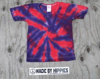Purple and Red Spiral Tie Dye T-Shirt (iDesign Size 4T) (One of a Kind)