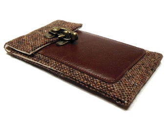 Smartphone wallet - brown tweed and leather