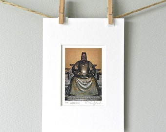 Chinese Emperor Photo, Stocking Stuffer, Bronze Figure Photography, Asian Art, Brown Art Print,Emperor Yongle,Oriental Home Decor,Ming Tombs