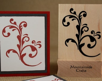 SCROLLS AND SWIRLS  - wood mounted rubber stamp (20-07)