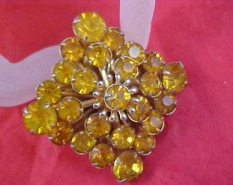 Impeccable CITRINE Rhinestone - Paste Gold Plate Brooch/Pin
