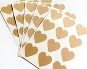 Set of 60 - 3/4 inch - KRAFT - Small Heart Stickers - Gift Wrapping, Party Invitations, Embellishment, Envelope Seals, Wedding Invitations