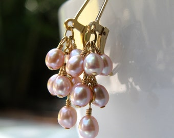 Pink Cluster Earrings, Freshwater Pearl, Gold Filled, Wedding Bridal Mother of the Bride Handmade Jewelry, June Birthday Gift Birthstone