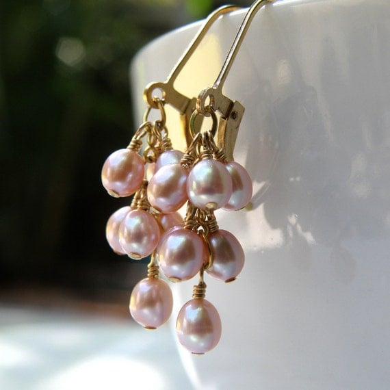 Pink Freshwater Pearl Earrings, Cluster, Dangle, Gold Filled, Wedding ...