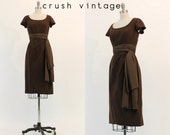 50's Cocktail Dress S / 1950's Wool Brown Dress / The Maple Sugar Dress - CrushVintage