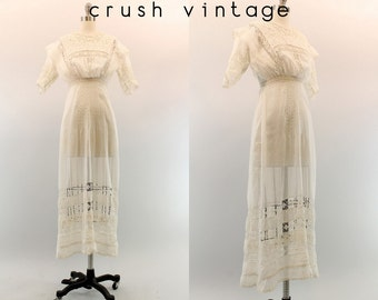 Edwardian Wedding Dress XS / 1900s Antique Lace Gown / The Way You Love Me Dress