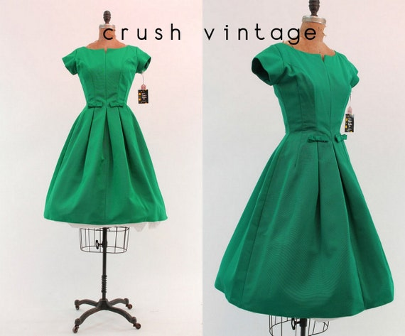 Party Dress XS / 1950s Emerald Green Dress / The Toni Gown