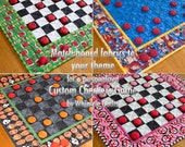 Custom Checkers Game Board | Quilted Checkerboard Game -- Any Fabric | Any Theme | Personalized Board Game | Made to Order | Great Gift Idea