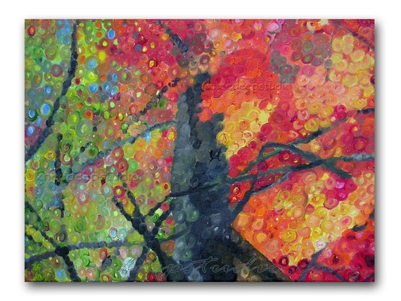 Modern Abstract Trees 16x20 fine art painting oil on canvas colorful autumn scene in frame contemporary home decor