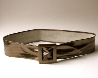 80s vintage Metallic Bronze Wide Leather Cinch Belt