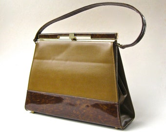 60s vintage Air Step Spicy Mustard Brown and Faux Tortoiseshell  Vinyl  Handbag