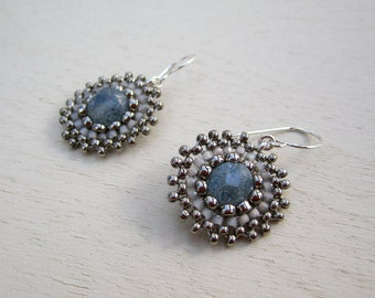 Pale blue glass seed bead woven disk earrings with sterling silver findings