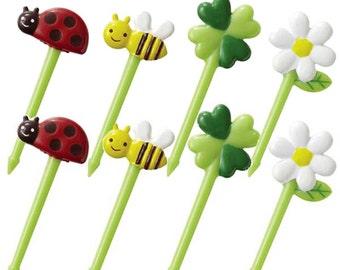 Cute food picks - 8 pcs - for food decoration (flower, bee, ladybug, clover)
