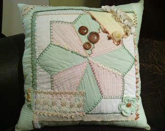 Minty Green Crazy Quilt Pillow