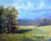 Art Landscape oil painting country hay field Christmas gift Wedding gift Summer Peace