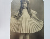 Vintage Black White Photo Vintage Sepia Photo Young Girl with her Pretty Dress