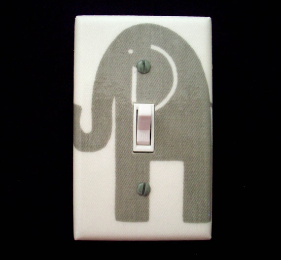 Light Switch Cover Grey Gray Elephant By Cathyscraftycovers