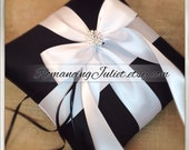 Romantic Satin Elite Ring Bearer Pillow...You Choose the Colors...Buy One Get One Half Off...shown in black/white