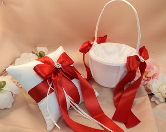 Custom Colors Satin Elite Ring Bearer Pillow and Flower Girl Basket Set...You Choose the Colors...shown in white/red