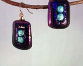 SALE! Fused Dichroic Glass Purple and Teal Earrings